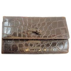 Vintage Gianni Versace Brown Crocodile Embossed Leather Wallet