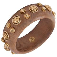 Chanel Wood & Gilt Metal Bangle Bracelet, Circa 1984-1989