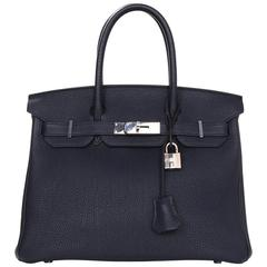 Hermes 2016 Navy Blue Bleu Nuit Togo Leather 30cm Birkin Bag
