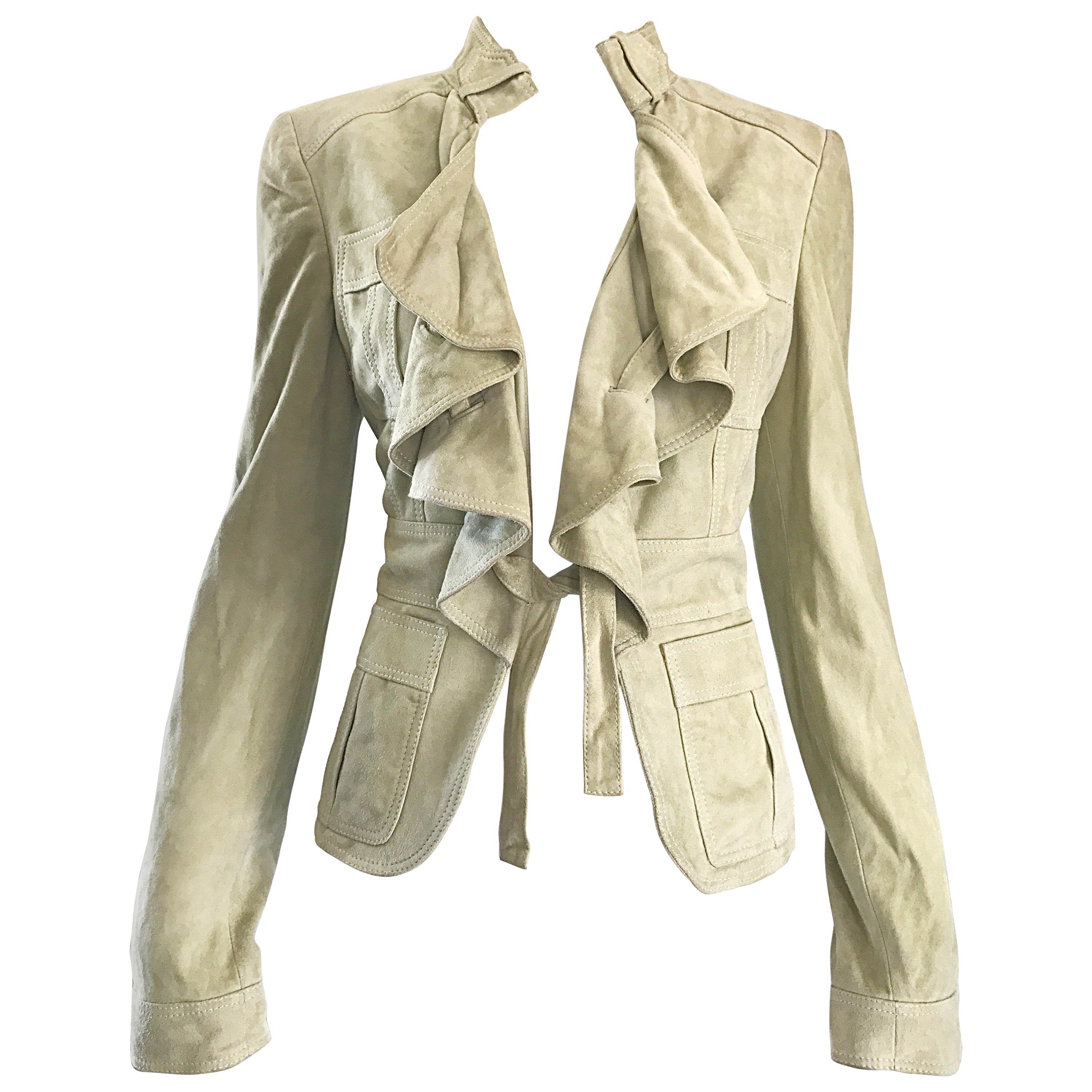 Tom Ford for Gucci Pistachio Khaki Suede Leather 1990s Vintage Ruffle Jacket