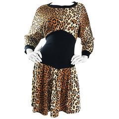 Amazing 1980s Leopard Cheetah Print Dolman Sleeve Vintage 80s Sweatshirt Dress