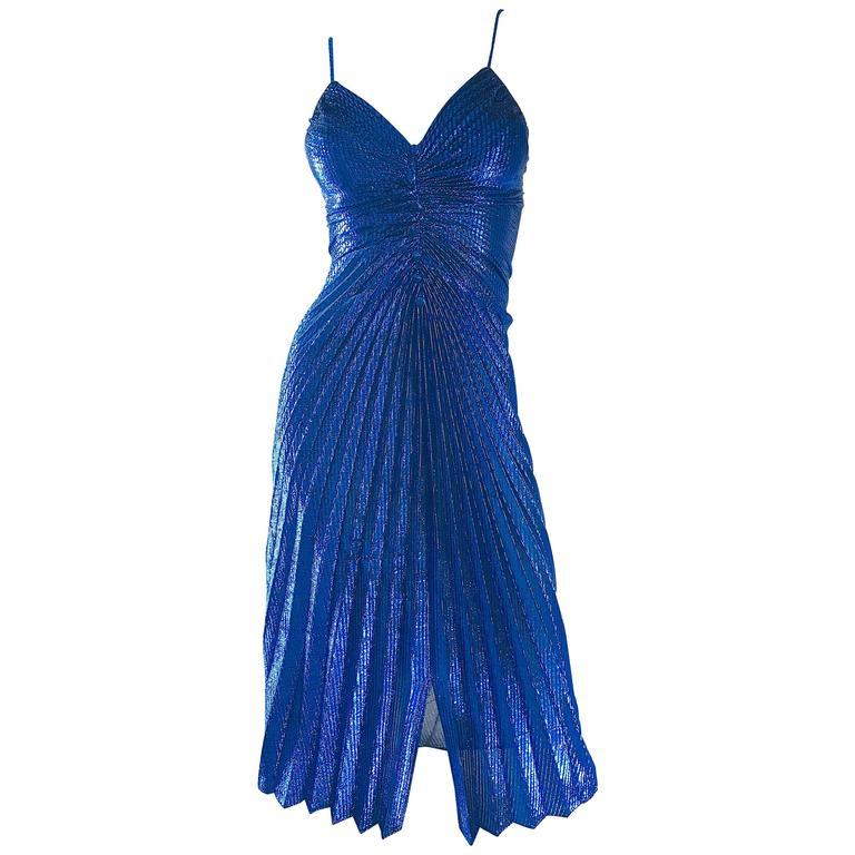 1970s Samir Metallic Blue Pleated Disco Vintage 70s Studio 54 Sexy Slinky Dress