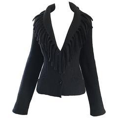 Rare Vintage Thierry Mugler Black Fringe Collar Avant Garde Boiled Wool Jacket