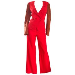 1990s Douglas Hannant Red + Burnt Orange Wool and Suede Leather Wide Leg Suit