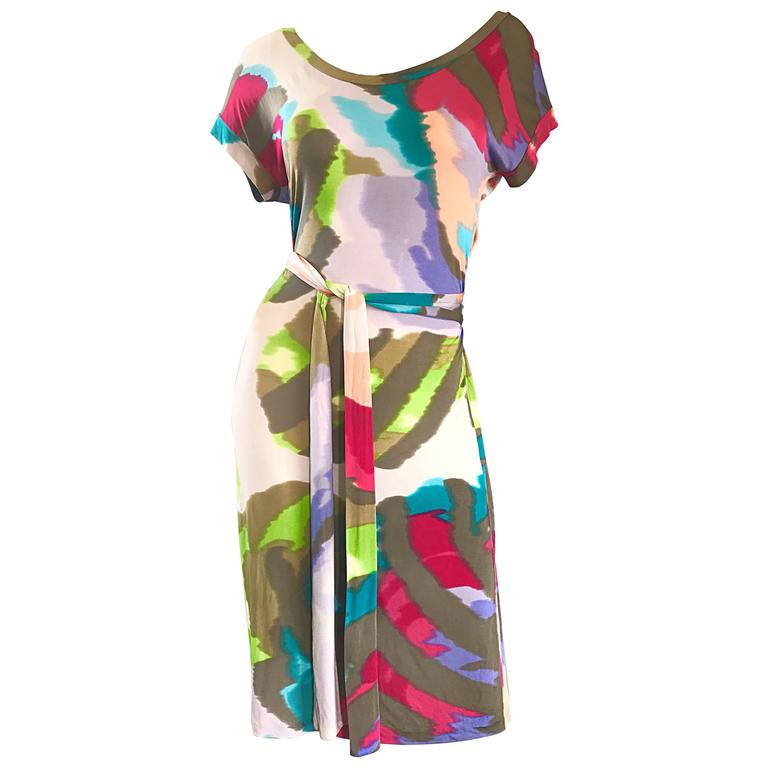 New Etro Silk Jersey Tie Dye Print Belted Short Sleeve Vibrant Colorful Dress  For Sale