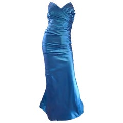 Vintage Ronald Nivelais Sz 10 Bergdorf Goodman Blue Silk Taffeta Strapless Gown