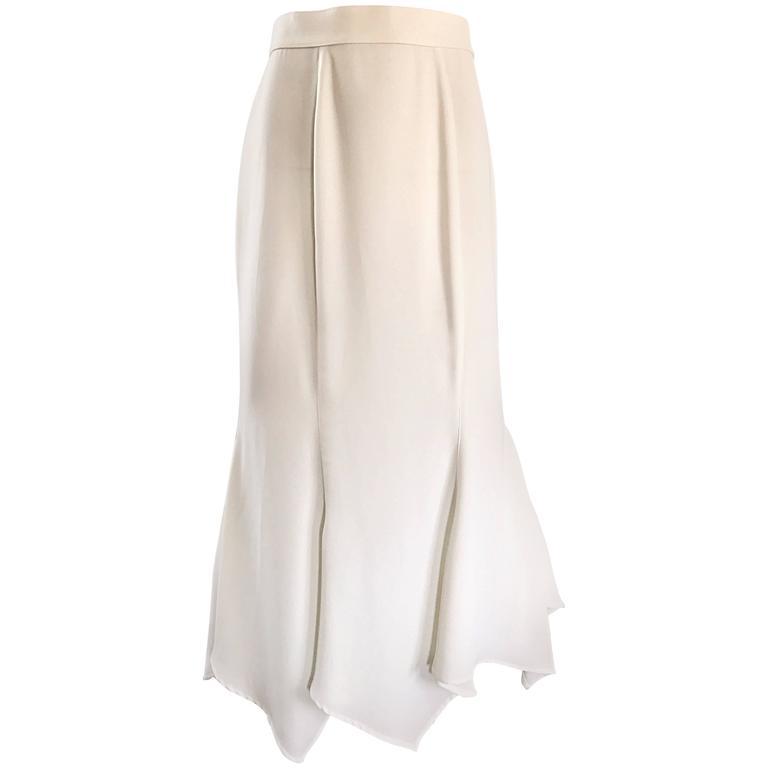1990s Thierry Mugler White Handkerchief Hem Asymmetrical Vintage 90s Maxi Skirt