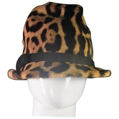 1940's Fantastic Jaguar Printed Fur Fedora with Black Wool Felt Bow