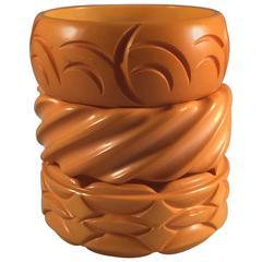 Triad of 3 Buttercream 1930s Carved Bakelite Bangle Bracelets