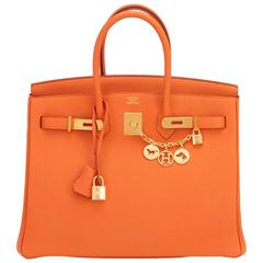 Hermes Classic Orange 35cm Birkin Bag Gold Hardware Rare