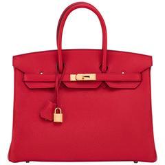 Hermes Rouge Casaque 35cm Clemence Red Birkin Bag Gold Hardware