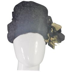 1950's Black Polka Dot Net Beehive Style Hat with Organza Flower