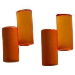 21st Century Tubular Brilliant Orange and Amber Acrylic Clip on Earrings