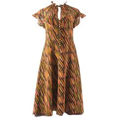 Ossie Clark for Radley 1970s chiffon tea dress with Celia Birtwell print