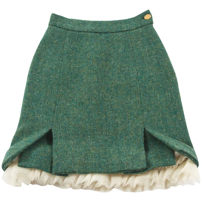 Vivienne Westwood Autumn-Winter 1991 green tweed skirt with a crinoline