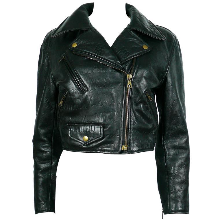 Moschino Vintage Iconic Black Leather Biker Jacket Fall ...