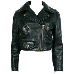 Moschino Vintage Iconic Black Leather Biker Jacket Fall/Winter 1990-91
