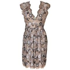 BURBERRY Silver and Bronze Floral Pattern Lace Dress