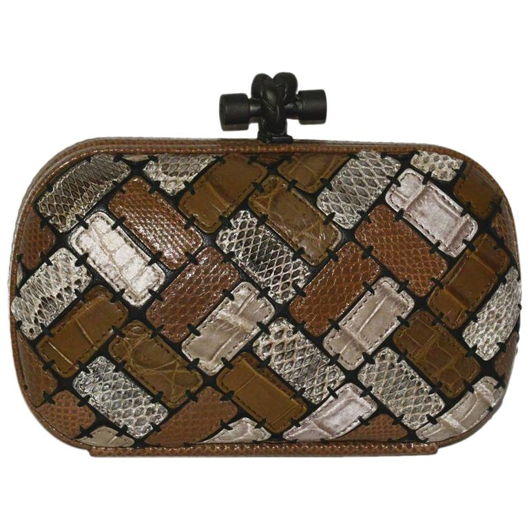 Bottega Veneta Limited Edition Patchwork Multi Exotic Skin Knot Bag