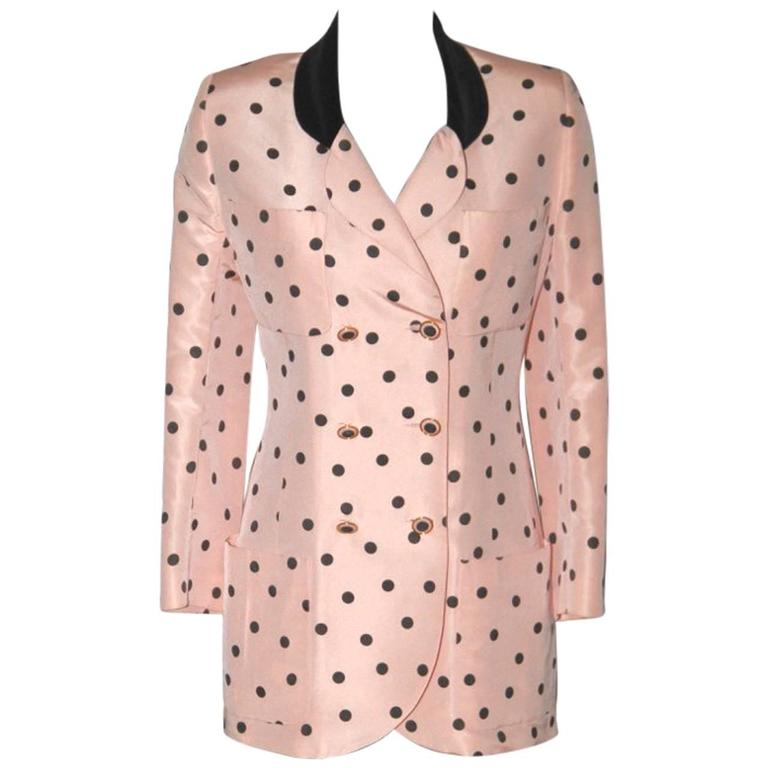 Chanel Pink and Black Polka Dot Jacket For Sale