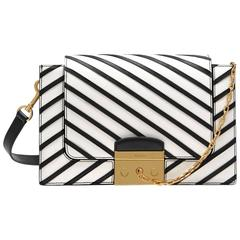 Mulberry Pembroke Stripe Shoulder Bag - black & white leather