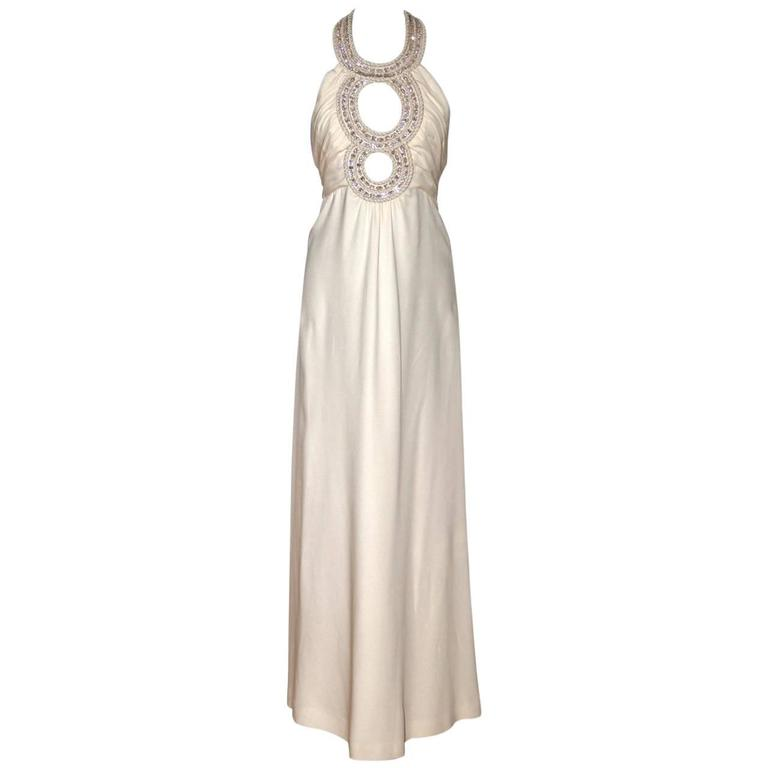 "LORIS AZZARO ""3 Anneaux"" Collection Ivory Silk Jewelled Collar Evening Gown"
