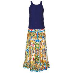 Dolce & Gabbana Long Cotton Skirt – Majolica-print pattern – Never worn