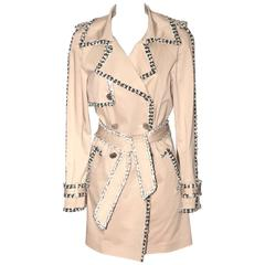 Chanel Beige Trench Coat – White/Black Tweed Trim