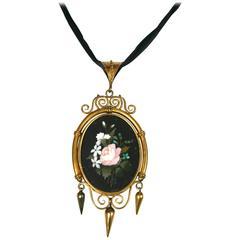 Victorian Pietra Dura Locket Pendant