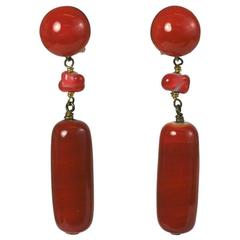 Louis Rousselet Art Deco Faux Coral Pate de Verre Drop Earrings