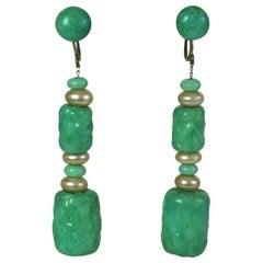 Louis Rousselet Art Deco Jade Pate de Verre Earrings