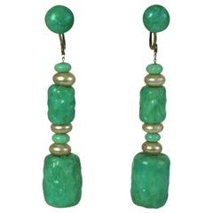 Louis Rousselet Art Deco Jade Pate de Verre Earrings