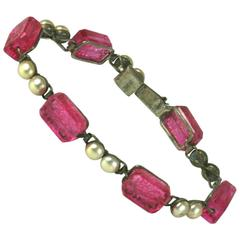 French Art Deco Ruby Pate de Verre Link Bracelet