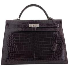 Hermes Amethyste Crocodile Kelly Bag