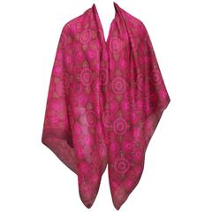 Exotic & Large 1970's Pierre Cardin Hot Pink & Green Indian Silk Scarf