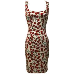 Dolce & Gabbana 1990s Cherry Print White and Red Wiggle Dress