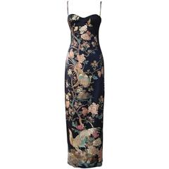 Roberto Cavalli Asian Inspired Silk Print Dress