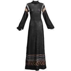 1970s Wenjilli Vintage Metallic Knit Maxi Dress