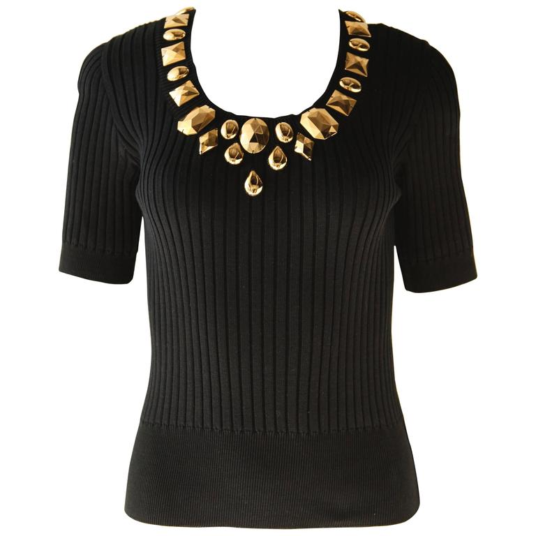 Escada Vintage Studded Knit Top