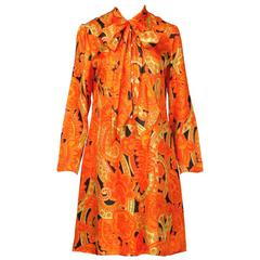 Rare 1960s Vintage Yves Saint Laurent Orange Silk Print Shift Dress with Ascot