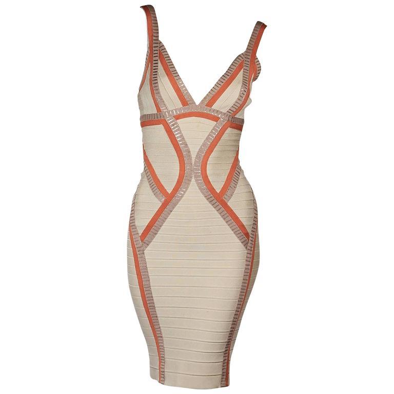 Tan & Orange Herve Leger Bandage Dress 1