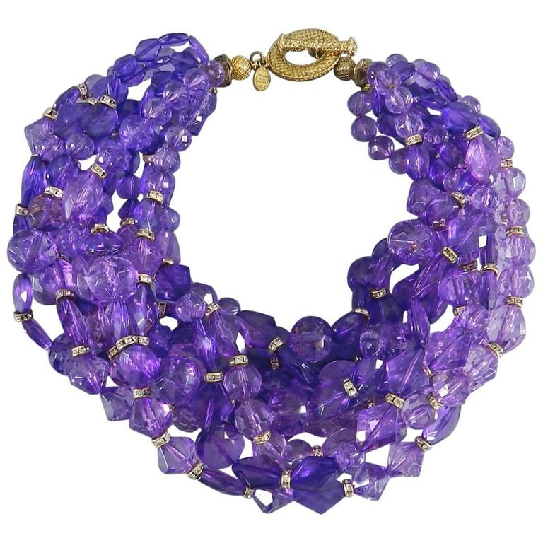 Christian DIOR purple 10 strand beaded Choker Necklace 1