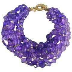 Christian DIOR purple 10 strand beaded Choker Necklace