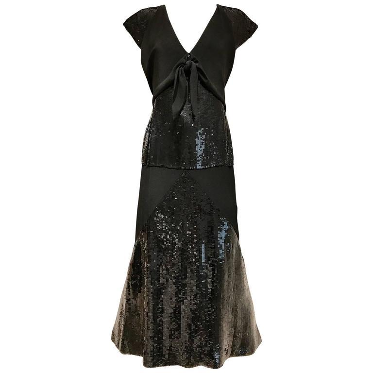 Chloe Black Silk Sequin Gown, 1980s