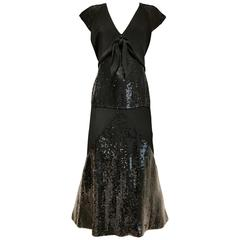 Chloe Black Silk Sequin Gown, 1980s