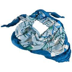 Hermes 140cm blue silk twill wrinkle shawl scarf