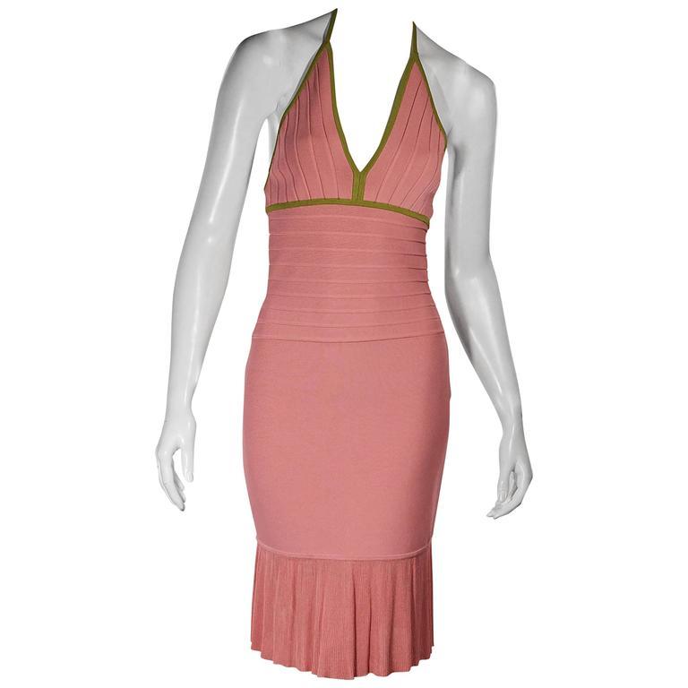 Pink & Green Herve Leger Halterneck Dress 1