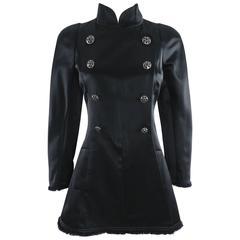 Chanel 08A Black Silk Satin Evening Jacket