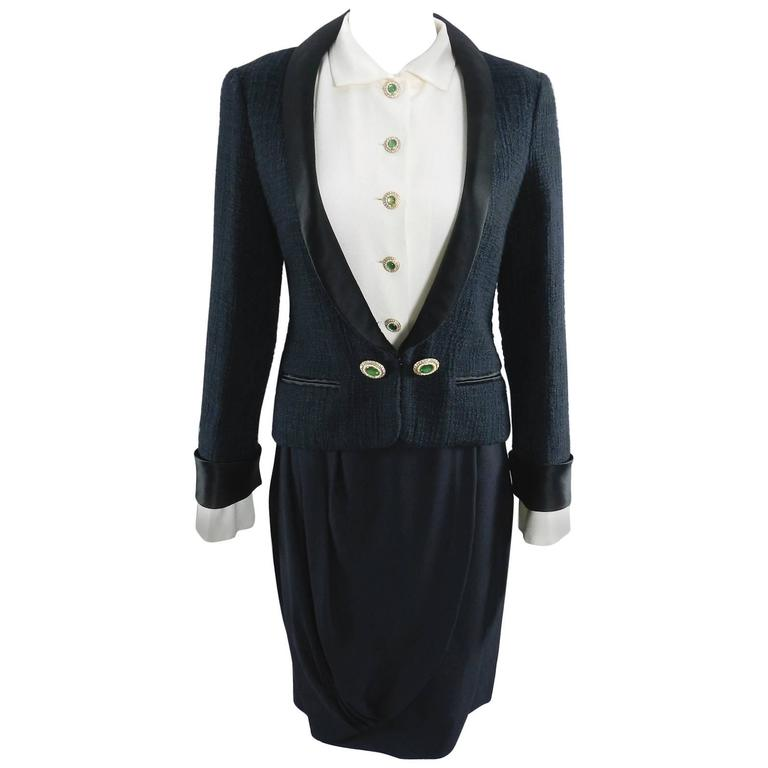 Chanel Black Suit with Silk Blouse and Green Jewelled Buttons 1