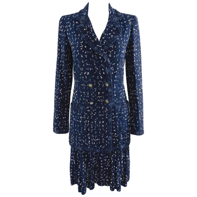 Chanel Navy Indigo Jacket with Crochet Knit Trim 1